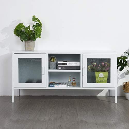 FURNISH1 Büro-Konsole, Aufbewahrungsschrank aus Metall, Schrank, 3 Türen, Schrank, Organizer, 3-in-1, 2 Ebenen, 4 Regale, Beine