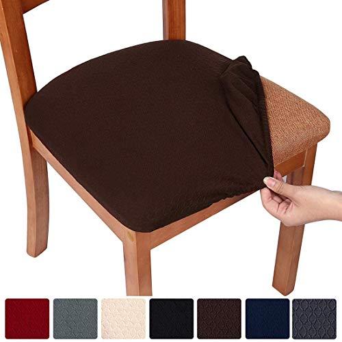 Homaxy Stretch Spandex Jacquard Esszimmerstuhl Sitzbezüge, herausnehmbarer waschbarer Anti-Staub Esszimmerstuhl Sitzkissen Hussen - 6er Set, Braun