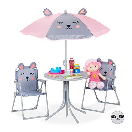 Relaxdays Camping Kindersitzgruppe, Kindersitzgarnitur mit Sonnenschirm, Maus Motiv, für Camping, Strand & Garten, grau
