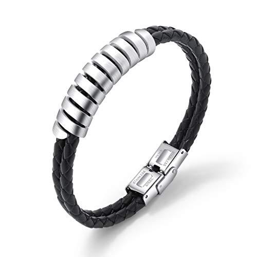 Pulsera de cuero multicapa – Brazalete trenzado – con brazalete de acero de titanio para hombre, accesorios de reloj salvaje, plata