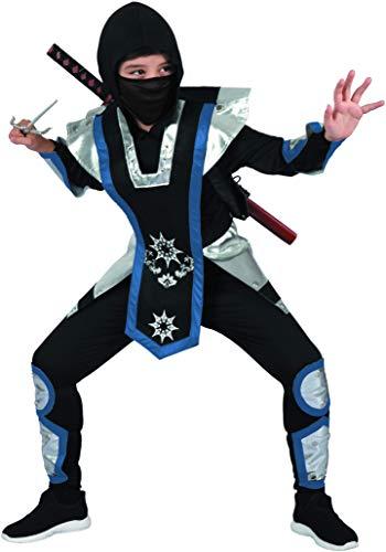 Magicoo Kämpfer Ninja Kostüm für Kinder Jungen Gr 110 bis 140 blau-Silber-schwarz - Fasching Kinder Ninja Kostüm für Kind (122/128)