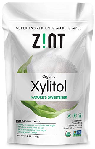 Zint Organic Xylitol Sweetener (10 oz): USDA Certified Natural Sugar Free Substitute, Non GMO, Low Glycemic Index, Measures & Tastes Like Sugar