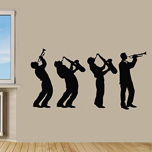Hllhpc Muziek-muursticker, motief: kinderen, met saxofoon tattoos, wanddecoratie, woonkamer, slaapkamer, wand 58 x 31 cm