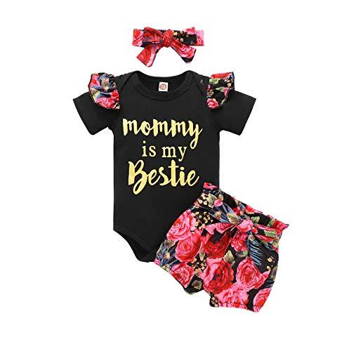 BemeyourBBs Bebé Bebé Niñas Verano Leopardo/Floral Trajes De Manga Corta Mameluco Pantalones Diadema 3pcs Ropa Recién Nacido Juegos