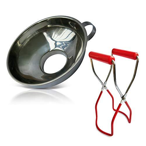 Embudo de enlatado y elevador de tarros de 2 piezas - Embudo de enlatado de acero inoxidable y elevador de tarros de enlatado con agarre seguro para tarros anchos y regulares