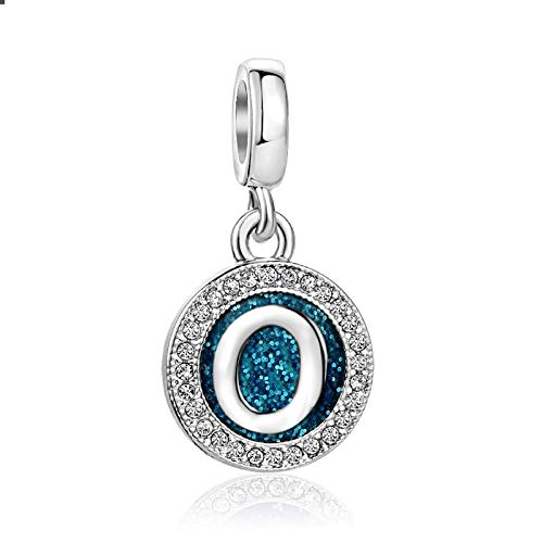 MiniJewelry O Letter Initial Alphabet Universe Blue Metal Plate Crystal Clear Charm for Bracelets Women Girls Family Birthday