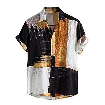 Men s Cotton Linen Shirts Short Sleeve Summer Floral Button Down Hawaiian Shirt Relaxed-Fit Vintage Casual Beach Tops