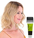 """Bundle - 4 items: Premium 100% Handmade Topper Wave 14"""" Hairpiece by Belle Tress, Christy's Wigs Q & A Booklet, BeautiMark Synthetic Shampoo & Wide Tooth Comb - Color: Champagne with Apple Pie"""