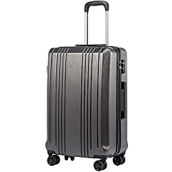 Coolife Luggage Suitcase PC+ABS with TSA Lock Spinner Carry on Hardshell Lightweight 20in 24in 28in (grey, S(20in_carry on))