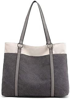 Fashion Handbags Canvas Fashion Hit Color Big Bag Simple Shoulder Bag Female Casual Bag Literary Fan Wild Tide Handbag (Color : Grey)