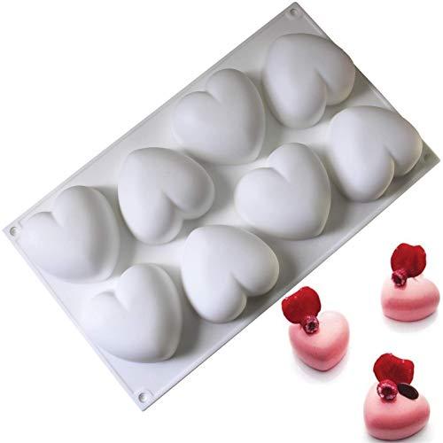 YUX Muffinform - Puddingform - Kuchenform - Schokoladen Silikon Dessertform, Eiscreme Kuchen Pfanne Backen Cupcake Form, 8 Cavity 3D Herzform- 1St