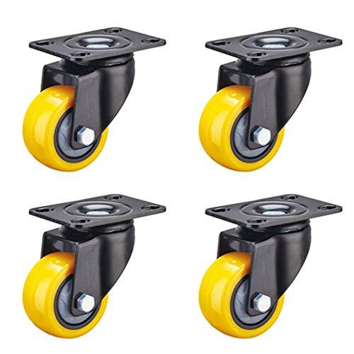 QQAA 2IN Ruedas Pivotantes con Doble Bloqueo de Seguridad, 4 Piezas Ruedas para Muebles de PU Super Silencioso Capacidad de Carga de 135kg / 297 LB (Amarillo)