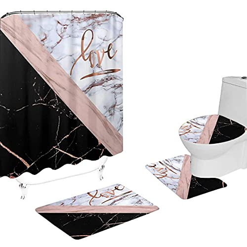 Rose Gold Marble Bathroom Shower Curtain Sets with Rugs,Toilet Pad Cover and Bath Mat,Rose Gold Faux Marble with Love Waterproof Polyester Shower Curtain Set 4 Pcs Bathroom Decor