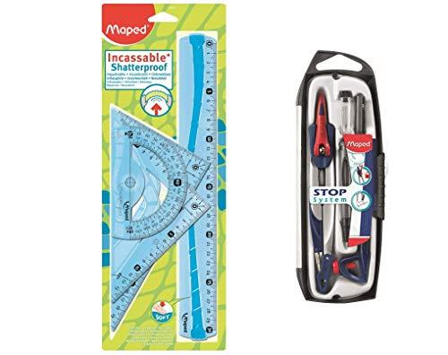 MAPED Kit de Traçage 4 Pièces avec Règle 30cm, Rapporteur 180°/12cm, Equerre 60°/21cm, Equerre 45°/21cm + Compas 5 Pièces Stop System - Coloris Bleu ou Vert