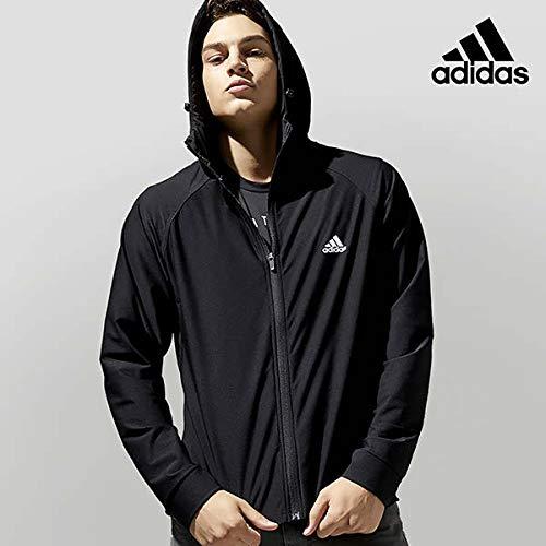 adidas サウナスーツ ウルトラストレッチ 上下セット //アディダス ダイエット ボクシング トレーニング ランニング ウォーキング マラソン デトックス ホットヨガ 太もも くびれ ジョギング ウインドブレーカー 脂肪燃焼 (Medium, Black)