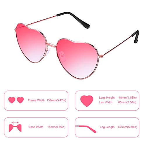 Boao 2 Pairs Hippy Specs Glasses Heart Shaped Sunglasses for Hippie Fancy Dress Accessory, Rose Gold Frame (Gradient Red Lens)