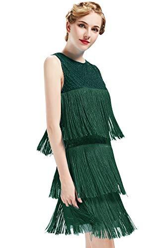 ArtiDeco 1920s Charleston Kleid Damen Knielang Cocotail Party Kleid 20er Jahre Flapper Damen Gatsby Kostüm Kleid (Dunkel Grün, M / UK12-14 / EU 40-42)