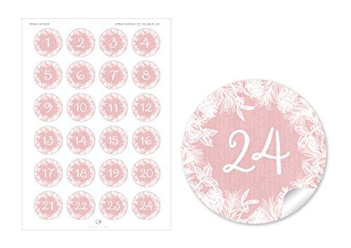 24 DIY Adventskalenderzahlen ROSA ZWEIGE KRANZ VINTAGE für einen DIY Adventskalender Papiertüten zum selber basteln 1 – 24 • Format 4 cm, rund, matt