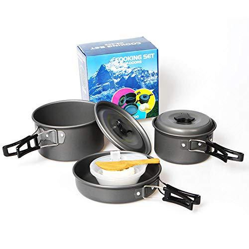 Demonqin Kit de Batterie de Cuisine de Camping en Plein air en Aluminium léger Pot de Camping Casserole Ensemble de Cuisson pour Le Camping randonnée