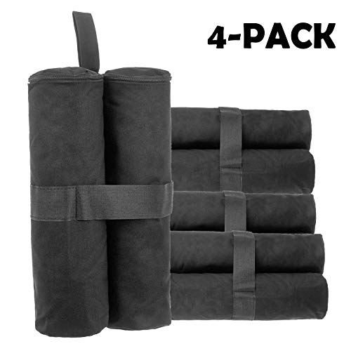 dicn 4PCS Sand Weight Bags for Gazebo Foot Leg Weights 600D Oxford Fabric Waterproof Black Sandbags