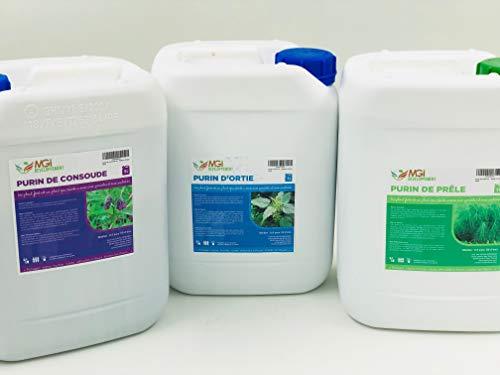 Lote de 3 purines ecológicos (ortiga/Presa/consuelda) Made in France – 3 x 5 litros – Fortificante ecológico