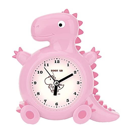 TCJJ Reloj Despertador de Dinosaurio para NiñOs Reloj de Dormitorio Bonito Y Duradero con Pilas NiñOs Y NiñAs(Rosa)