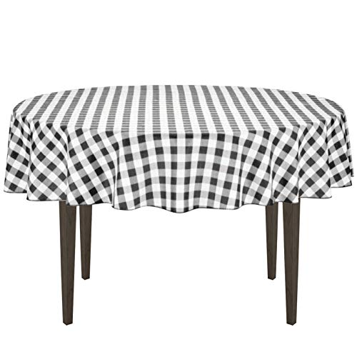 LinenTablecloth 70-Inch Round Polyester Tablecloth Black & White Checker