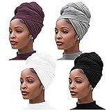 4 pièces Jersey extensible Turban Head Wrap tricot bandeaux écharpe de cheveux urbains couleur unie Ultra doux Extra Long respirant bandeau cravate
