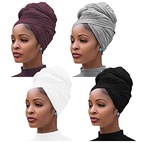 4 Pieces Stretch Jersey Turban Head Wrap Knit Headwraps Urban Hair Scarf Solid Color Extra Long Ultra Soft Breathable Head Band Tie for Women