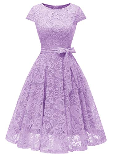 MUADRESS 6008 Women Short Lace Bridesmaid Dresses with Cap-Sleeve Formal Party Dresses Lavender Large