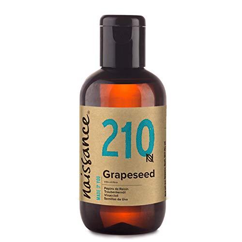 Naissance Aceite Vegetal de Semillas de Uva n. º 210 – 100ml - Natural, vegano y no OGM - Hidratante natural para el cabello y la piel.