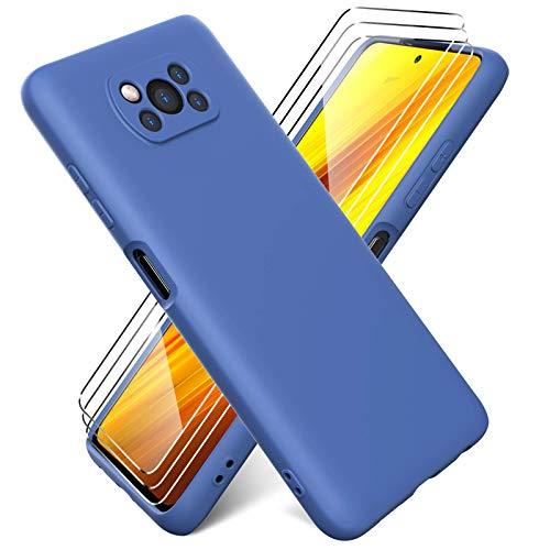 Ikziwreo Funda para Xiaomi Poco X3 Pro/Poco X3 NFC + Protectores de Pantalla Templados [3 Paquetes], Carcasa de Silicona Líquida Gel Ultra Suave Funda con tapete de Microfibra Anti-Rasguño - Azul