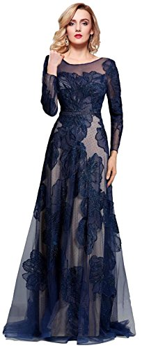 Meier Women's Long Sleeve Illusion Back Embroidery Lace Evening Dress Navy Size 6 (Apparel)