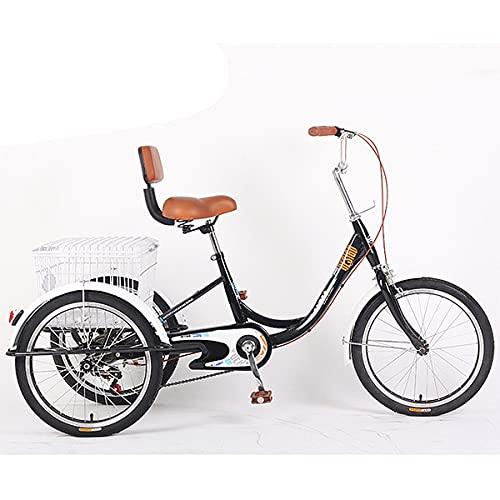 Triciclo para Adultos, Triciclo con 3 Ruedas, Bicicleta para Personas Mayores, Los Guardabarros Mantienen El Triciclo Limpio (Color : Black)
