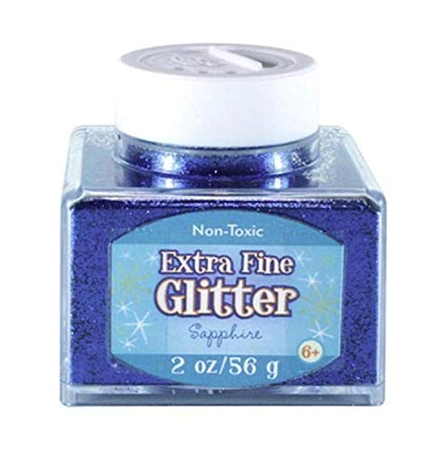 Sulyn Extra Fine Sapphire Blue Glitter Stacker Jar, 2 ounces, Non-Toxic, Stackable and Reusable Jar, Multiple Slot Openings for Easy Dispensing and Mess Reduction, Blue Glitter, SUL50867