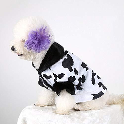 Gato del perro de perrito ropa de la camisa de la capa con capucha Sweate Nuevo otoño y el invierno Estilo peluche vaca del patrón del perro casero de prendas de vestir de algodón Tamaño: XXS, busto: