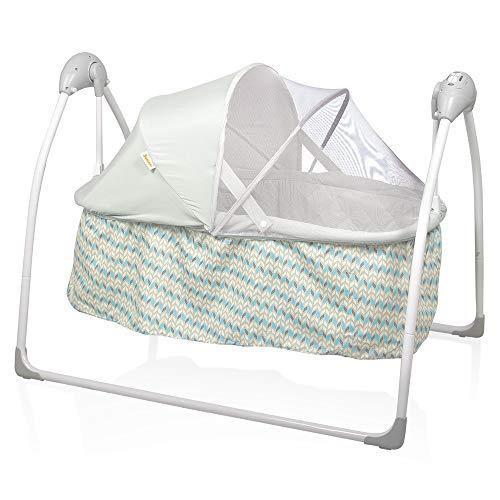 Baninni Babywiege Blau Grau Babyschaukel Baby Wippe Wiege Schaukel Bett Liege