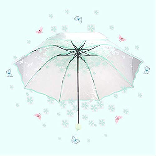 NJSDDB paraplu vrouwen Apollo kersenbloesem transparante drievoudige paraplu vouwen vrouwelijke Koreaanse Japanse kersenbloesem paraplu vrouwen, Groen