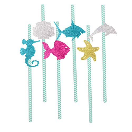 JANOU Ocean Party Straws Glitter Paper Sea Horse Shark Sell Fish Star Striped Straws for Baby Shower Birthday Party Favors Pack 12pcs