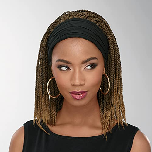 Raji Headband Wig by Especially Yours – Intricate Hand-Braided Wig with Trendy Shoulder Length, Slip-On Comfort / Runway Shades of Black and Brown