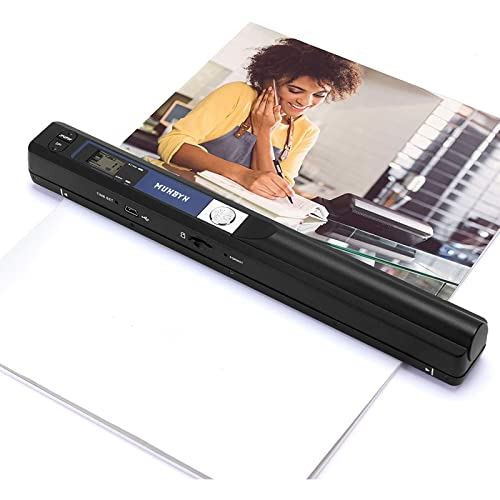 MUNBYN Portable Scanner, Wand Scanner for Documents Photos Book Pages in 900 Dpi Independently, Include 16G SD Card, Photo Scanner Transfer Files to PC Via USB Cable, Driver-Free
