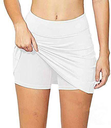 Falda deportiva para mujer, ligera, con bolsillos cortos, para correr, tenis, golf, entrenamiento, deportes, color blanco, 8-10
