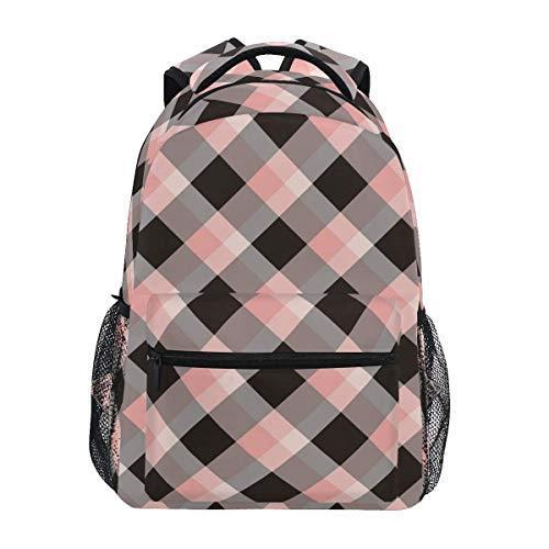 IUBBKI Pink Black Plaid Backpack Gradient Bookbag for Boys Girls Elementary School 2021854
