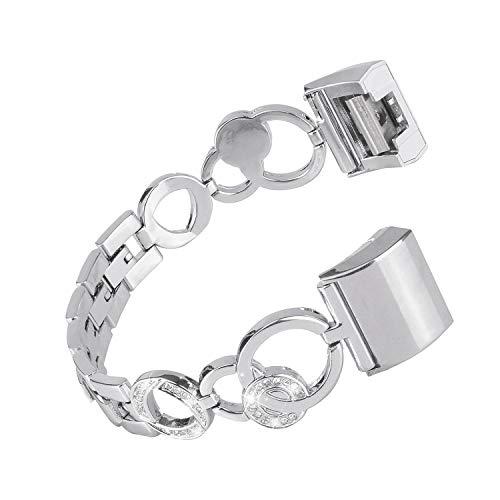 NikoStore Bands für Fitbit Charge 2,Damen Bling Edelstahl Armband,Uhrenarmband Wristband Zubehör für Fitbit Charge 2 Silber/Rosegold/Rosa