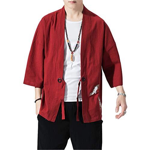 MISSMAOM_Fashion2019 Uomo Cappotto Kimono Giapponese Vintage Cloak Cotton Linen Blends Loose Fit Short Coat Jacket Cardigan,Vino Rosso,L