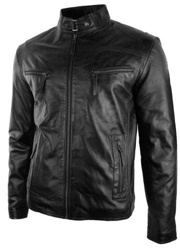 Aviatrix 2134 Chaqueta de Cuero Negro con Cremallera para Caballero Estilo Biker...