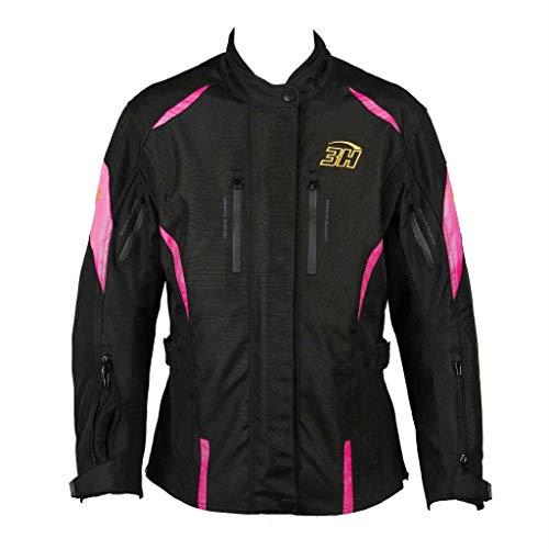 HHH SPORTS WEARS Chaqueta Moto Mujer Touring Protecciones (hombros y codos) (2XL, Rosa)