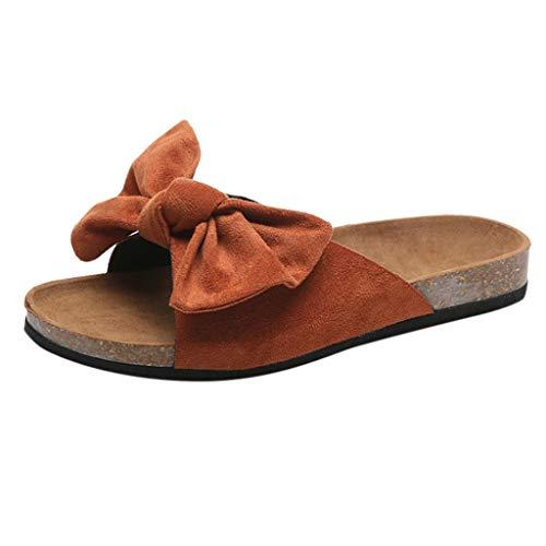 Pantofole Donna Fondo Piatto Morbido Antiscivolo con Fiocco Boemia Ciabatte Scarpe da Casa Sandali da Spiaggia Elegant Sandali Bassi Donna Estivi