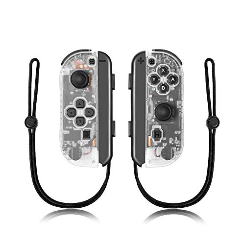 Joy-Con Controller Replacement Wireless Controller for Nintendo Switch,Switch Gamepad with Dual Vibration Motor Gyroscope, with with Strap and Support Wake-up Function(Transparent White)