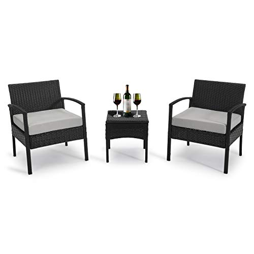 GREARDEN 3 Pieces Outdoor Patio Chairs, Rattan Chair Set,Wicker Chair Outdoor Furniture, Outdoor Table and Chairs for Patio, Porch, Backyard, Balcony, Poolside and Garden (Light Gray)